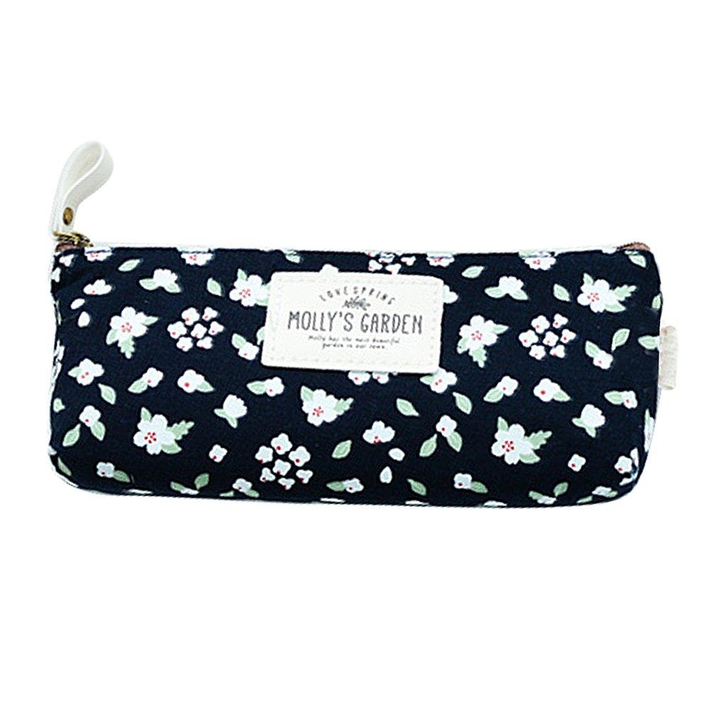 hugestore Vintage Floral Estuche De Lona Bolsa lápiz bolsa de palos de caso Holder caso bolsa de cosméticos para mujeres niñas, color Deep Blue: Amazon.es: ...