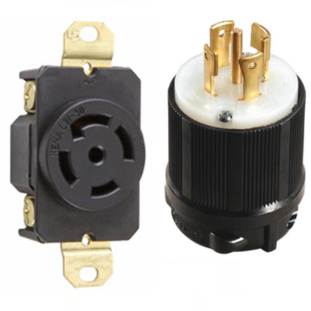 OCSParts L21-30PR NEMA L21-30 Plug and Receptacle Set - Rated for 30A, 120/208V, 5-Wire, 4 Pole - cUL Listed (Pack of 2)