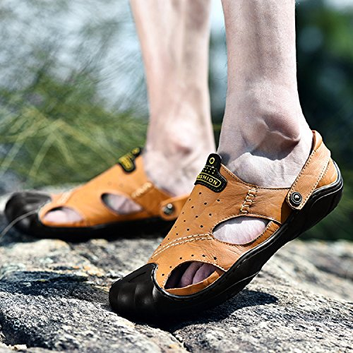 Sandalias Hombre Aire Caminar Al Dedo Para Zapatos Cuero Pie Moda del H Mastery Libre Cerradas Verano Calzado Marrón Playa de Rxpaq5