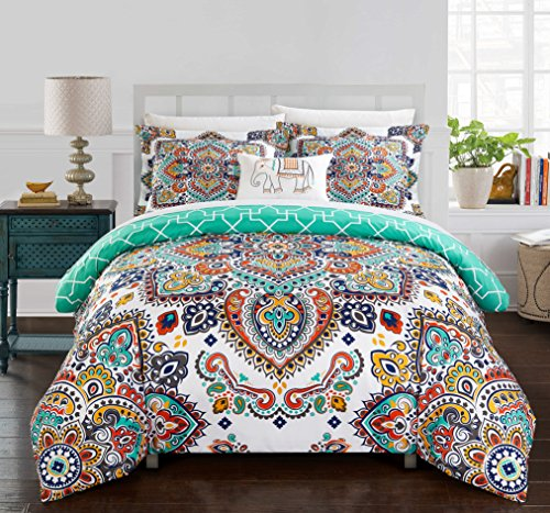 Chic Home 3 Piece Karen Reversible Boho-inspired print and contemporary geometric patterned technique Twin Duvet Cover Set Aqua (Comforter Boho)