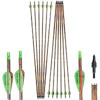 SHARROW 6/12pcs Tiro con Arco Flechas y saetas, 32 Pulgadas Spine 400 Arcos y Flechas para Caza o práctica, Hecho en…