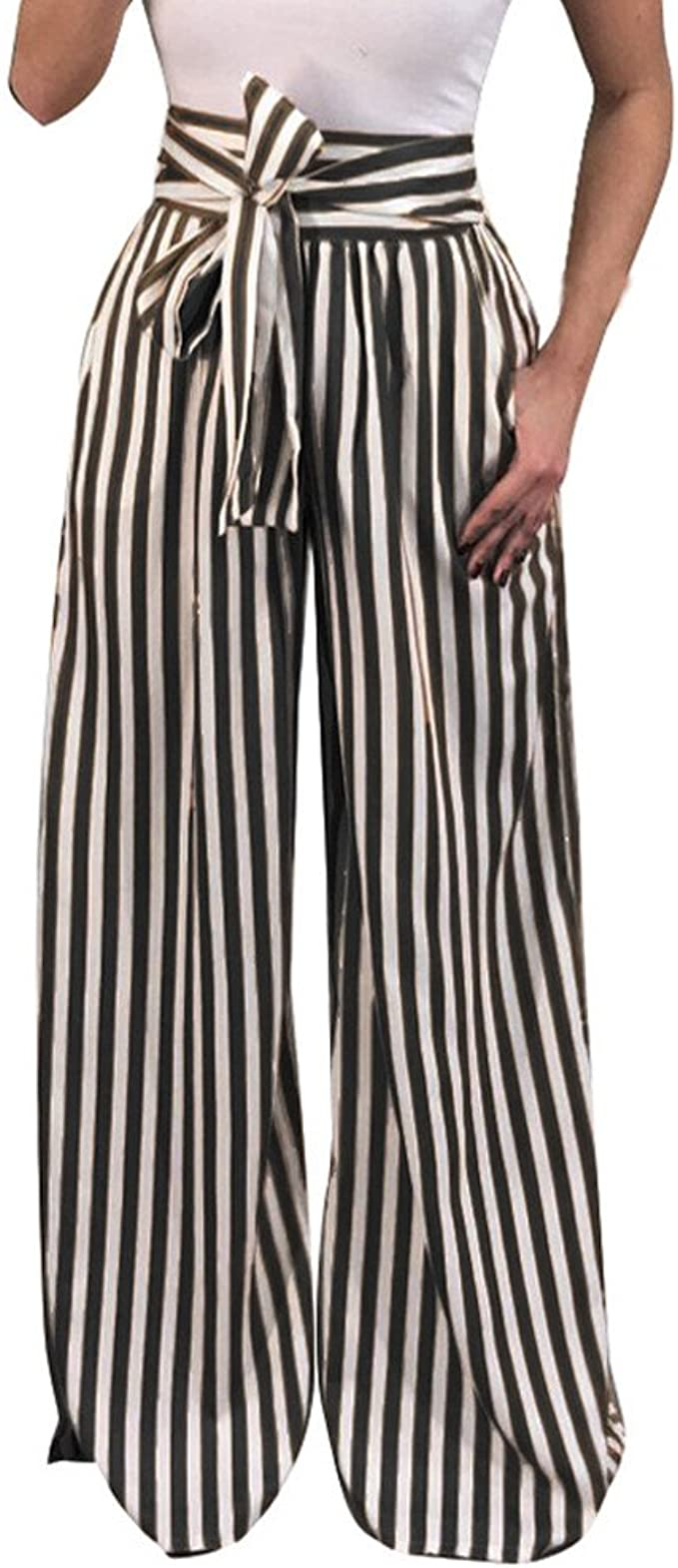 Large ladies white striped design wide leg elasticated waist trousers