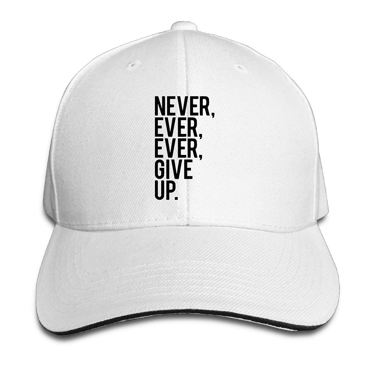 FOODE Never Ever Ever Give Up Peaked Baseball Cap Snapback Hats