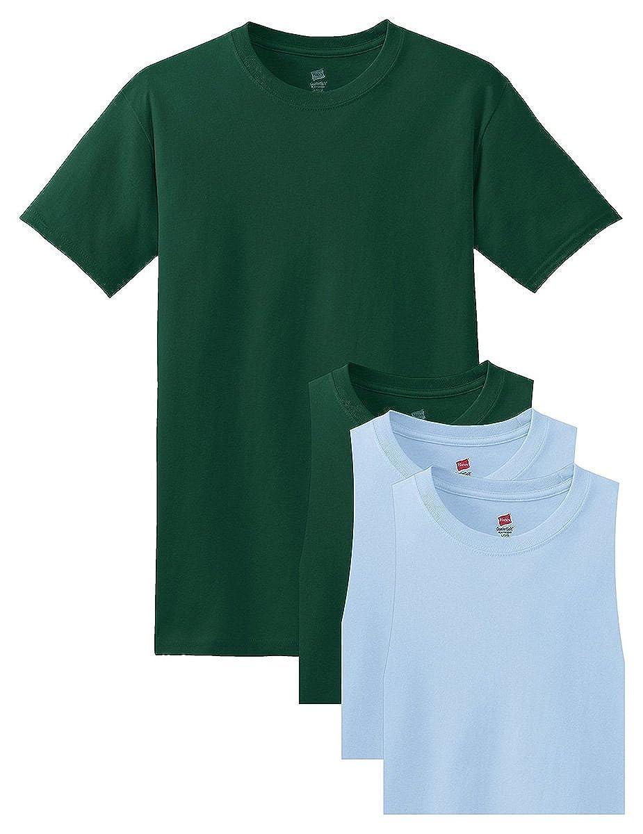 2 Light Blue Hanes Mens 4 Pack Short Sleeve Comfortsoft T-Shirt 2 Deep Forest XX-Large