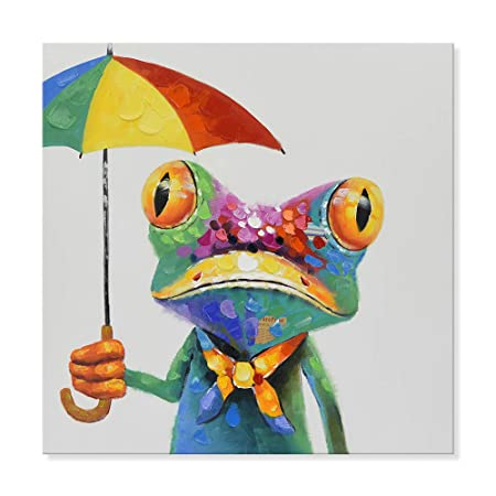 SEVEN WALL ARTS – Modern Hand Painted Animal Painting Cute Frog with Colorful Umbrella Artwork for Living Room Kids Room Decor 32 x 32 Inch