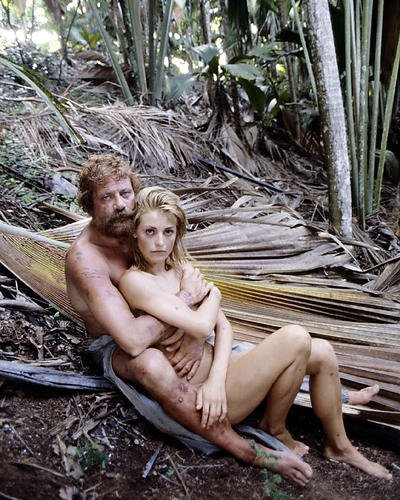 Castaway Color 8x10 Publicity Photo Oliver Reed & Amanada Donohoe Lying in Woods