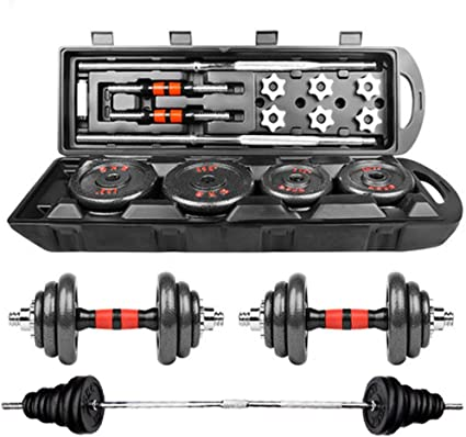 Totall 110//66LB Weight Dumbbell Set Adjustable Gym Barbell Plates Body Workout A