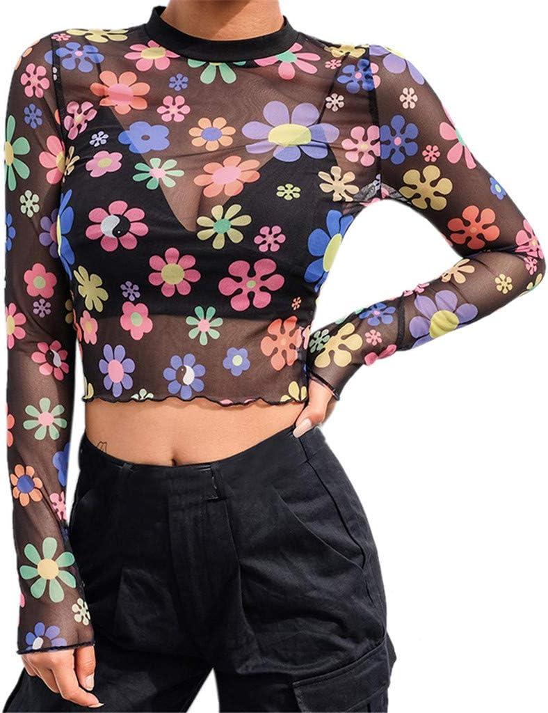 Womens Seamless Flower Transparent Mesh Sheer Crop Top T-Shirt Blouse Tee Tops