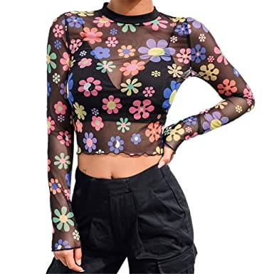 2ab254b1505a1a Amazon.com  Women Sexy Cute Turtleneck Long Sleeve Sheer Mesh Floral Print  See-Through Gauze Crop Tops Short Navel Top Blouse  Clothing