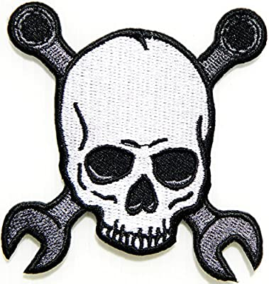 Skull Ghost Wrench Cross Logo Biker Lady Rider Hippie Punk Rock Heavy Metal Tatoo Jacket T-shirt Patch Sew Iron on Embroidered Sign Badge