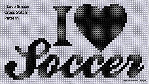 I Love Soccer Cross Stitch - Cross Ball Stitch