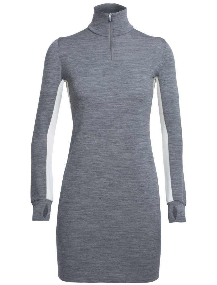 Icebreaker Merino Women's Affinity Dress, Snow/Gritstone Heather, Medium