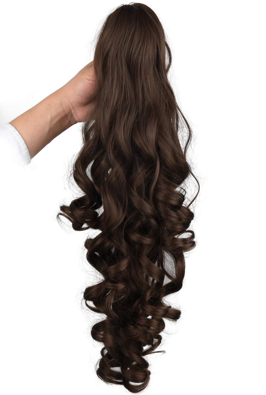 SEIKEA 24 Inch Claw Clip Ponytail Extension Long Curly Pony Tail Jaw in with Grip Wavy Hair - Dark Chocolate Brown by SEIKEA