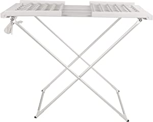 Mind Reader ECDRY-SIL 100 Watt Stainless Steel Foldable, Portable Electric Heated Clothes Rack, Towel Stand Dryer, Airer, Warmer, Silver