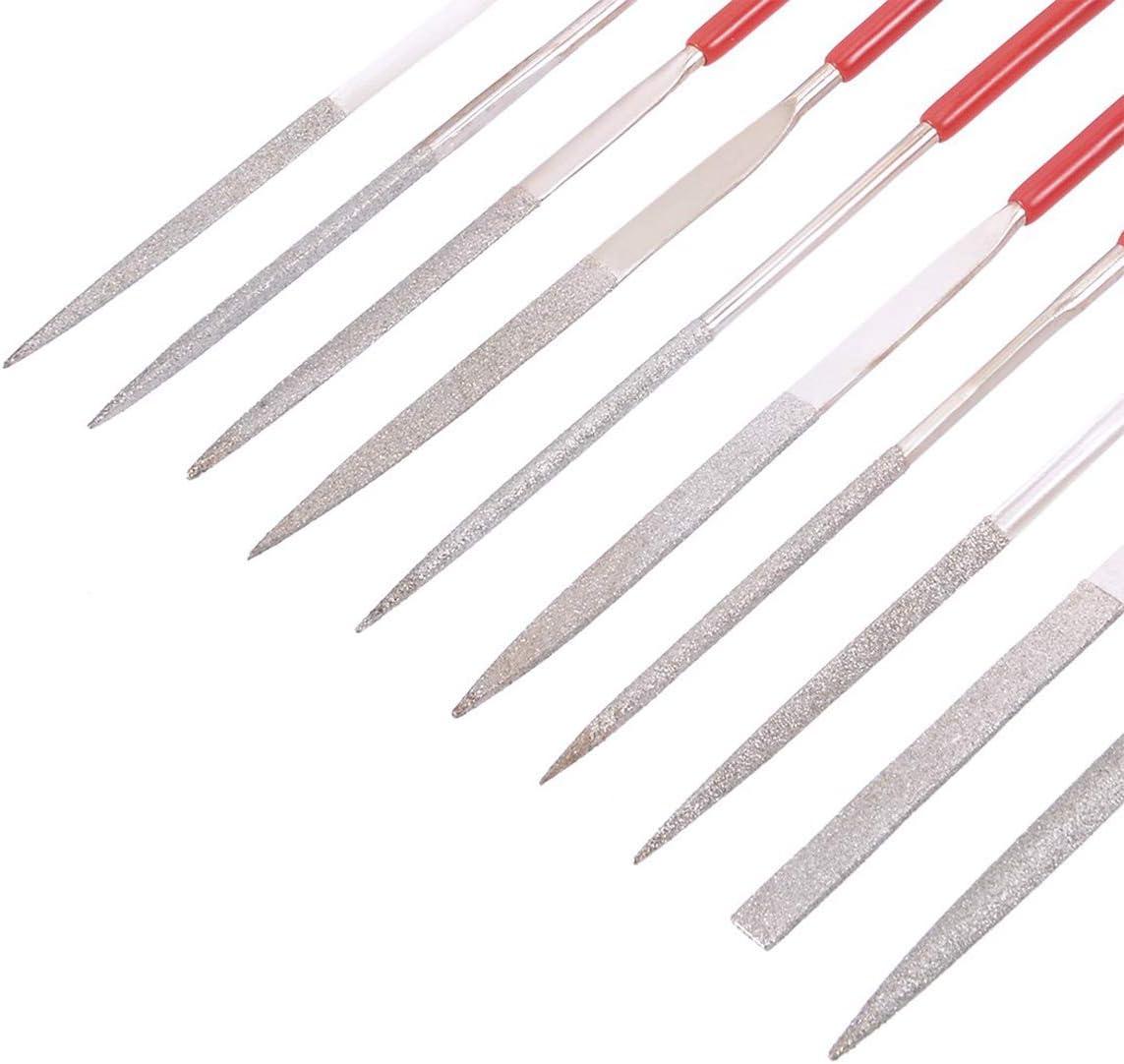 Sliver+Red 140MM x 3MM Rasp Diamond Coated Needle File Set Titanium for Filing Cutting Tool Sliver 10PCS