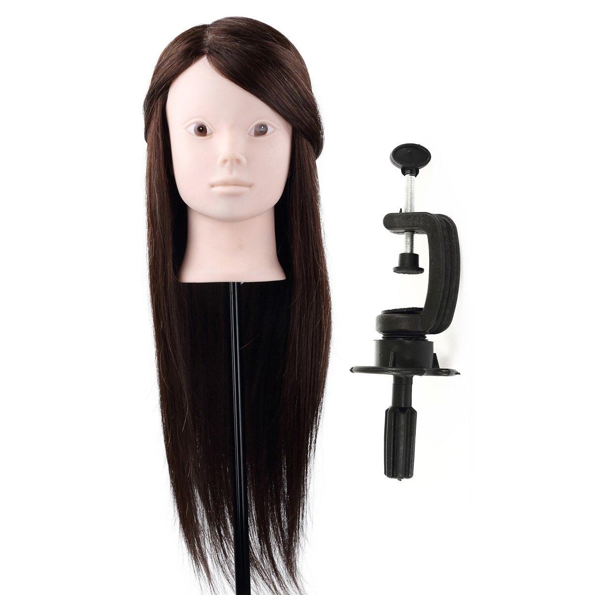 Besmall Tête à Coiffer Coiffure Professionnel 80% Cheveux Hmuains Poils De Chameau Résistante à haute température 60cm Tête d'exercice pour le Salon Coiffeur