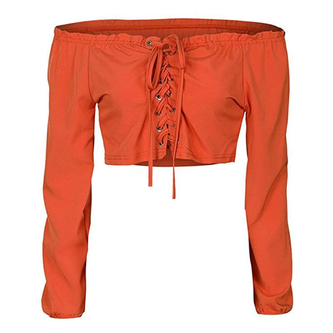 3212c195084c6 Off Shoulder Sexy Women Blouse Shirt Lace up Long Sleeve White Shirts Short  Bandage Cropped Tops