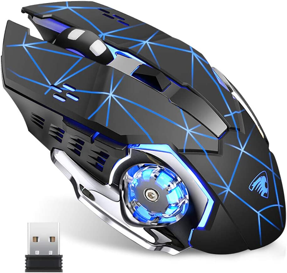 TENMOS T85 Raton Inalambrico Gaming,2.4G USB LED Recargable Inalámbrico silencioso óptico, Sleep Automático, Mango Ergonómico, 3 dpi Ajustable, 6 Botones para Mac/PC/Portatil/Ordenador (Negro Mate)