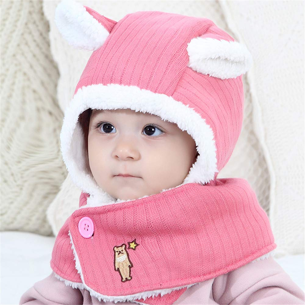 Vinjeely Kids Infant Toddler Fur Lined Scarff Cute Ear Warm Winter Hat Headgear Baby Boys Girls Beanie Cap
