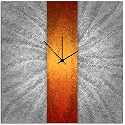 Metal Art Studio L0045 'Orange Stripe Clock' Contemporary Metal Clock
