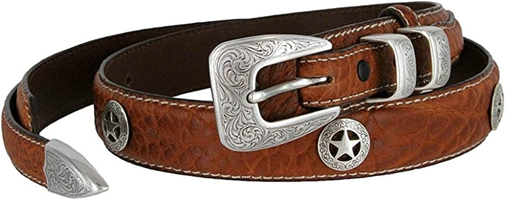Pele Belt Men 1-1//8 Wide Genuine Bison Leather Metal Buckle Star Conchos