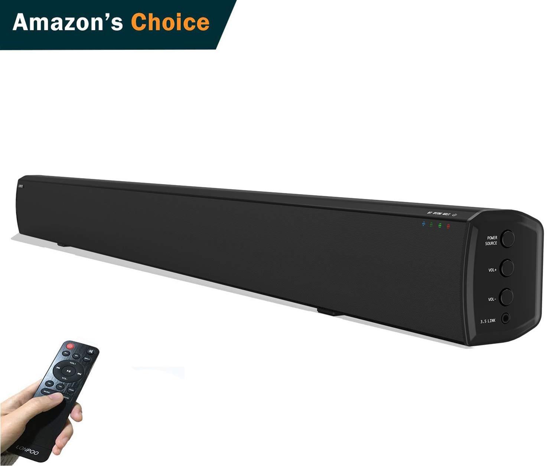 TALLA 80CM. LONPOO 609B 20W*2 Slim TV altavoz soundbar, Bluetooth Barra de sonido cine en casa - Sistema de altavoces con mando a distancia (Negro)