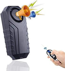 Upgraded Bike Alarm Waterproof with Remote, Vibration Motorcycle Bicycle/Door Burglar Alarm, Prevent Robbery and Door Prying, 113dB Loud, Adjustable Sensitivity, Windows/Door Alarm Vibration Sensors