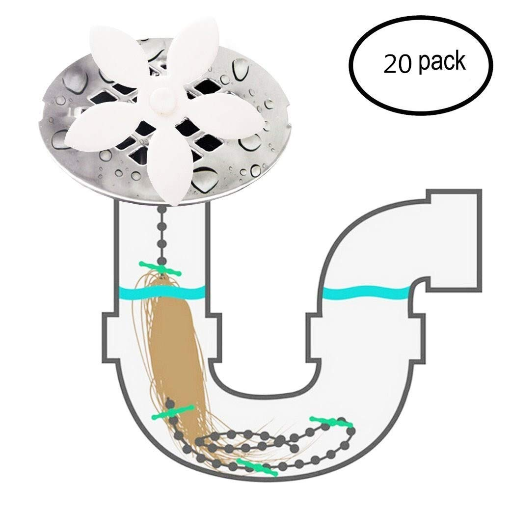 VesipaFly Drain Hair Catcher, Disposable Flower Shower Hair Cleaning Chain, Drain Clog Remover, Tool for Drain Cleaning - Never Clean a Clogged Drain Again ((20 Pack)