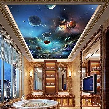 Bahuzhi Papier Peint Plafond Murale Moderne 3d Univers Planete Photo