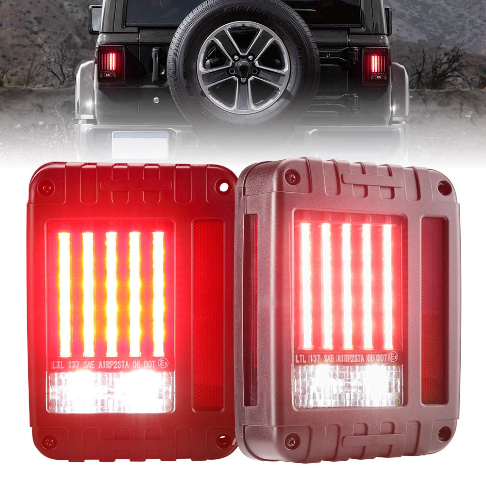 Nilight TR-02 60 Truck Tailgate Bar Double Row LED Flexible Strip Running Turn Signal Brake Reverse Tail Light,Red//White,No-Drilling