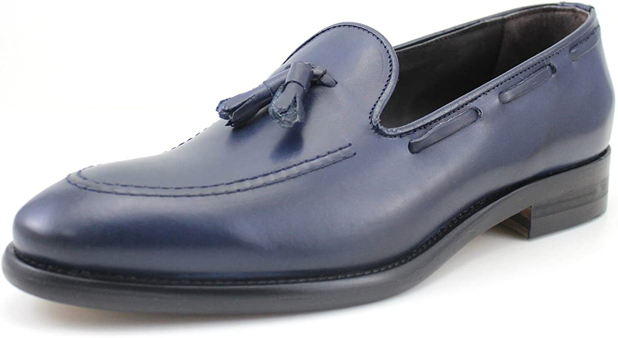 GIORGIO REA Zapatos para Hombre Mocasines para Hombres Hecho a Mano EN Italia, Los Zapatos, Clásico, Elegante, Zapatos Formales, Zapatos de Negocios para La Ceremonia Azul