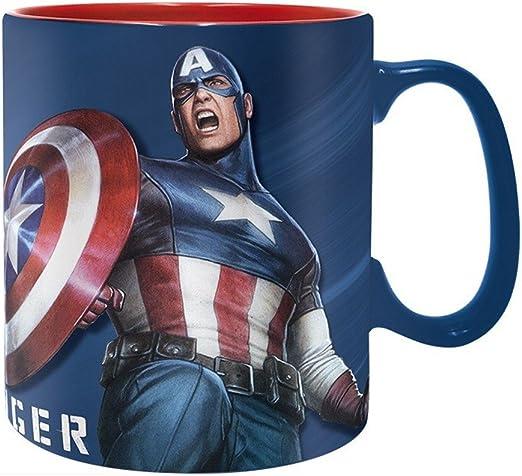Marvel Comics - Taza de cerámica (460 ml, en caja de regalo), diseño de Capitán América: Amazon.es: Hogar