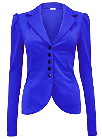 335f2503a Glamour Fashion-Womens 5 Button Front Ponte Shoulder Pads Mardela ...