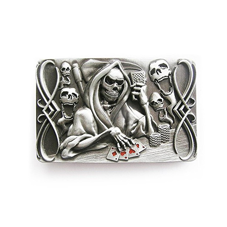 eeddoo® Gürtelschnalle - Casino Poker Skull - Death - Totenkopf Glücksspiel (Buckle für Wechselgürtel für Damen und Herren | Belt Frauen Männer Oldschool Rockabilly Metall Gothic Wave Rock Biker)