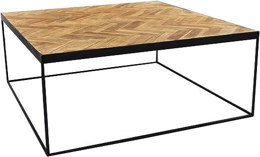 Meubletmoi - Mesa baja cuadrada de teca con diseño clásico chic e ...