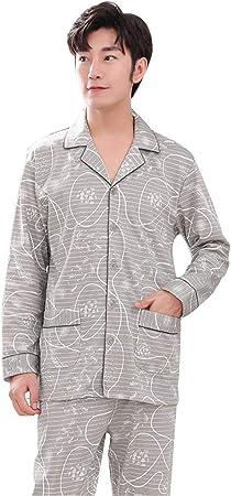 Meng Wei Shop Pijamas de Hombre Cazadora de algodón de Manga Larga, Primavera y otoño Algodón otoño e Invierno Ropa de hogar para Hombre. (Size : 185cm/xxxl): Amazon.es: Hogar