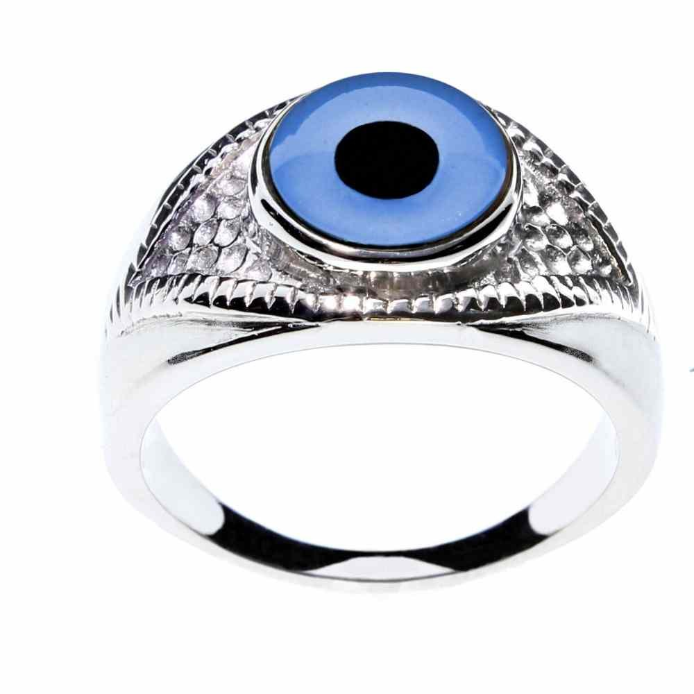 Steel Dragon Jewelry Unisex Glass Evil Eye Ring in an Eye-Shaped Stainless Steel Setting by (Evil Eye, 6)
