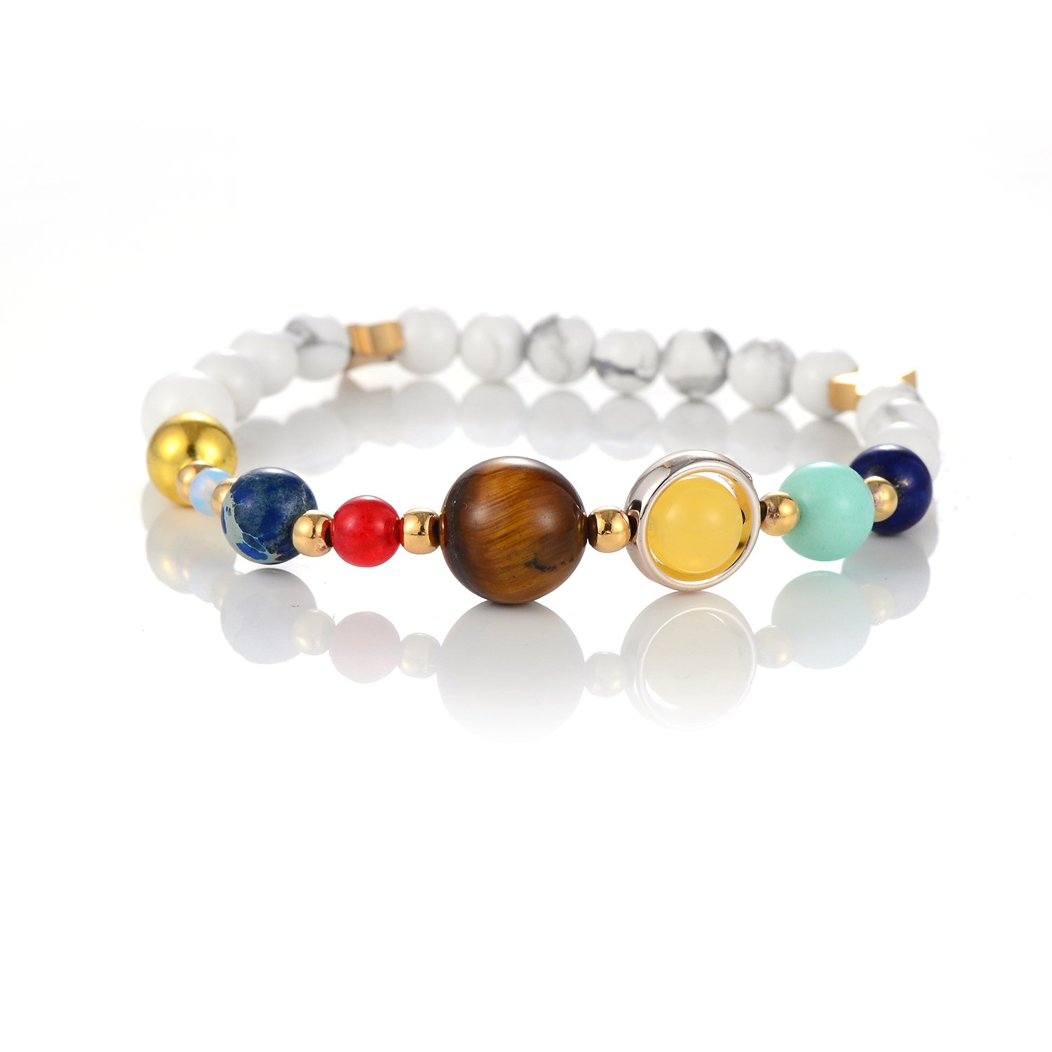 Solar System Bracelet White Turquoise Galaxy The Nine Planets Guardian Star Natural Stone Beads Bracelets