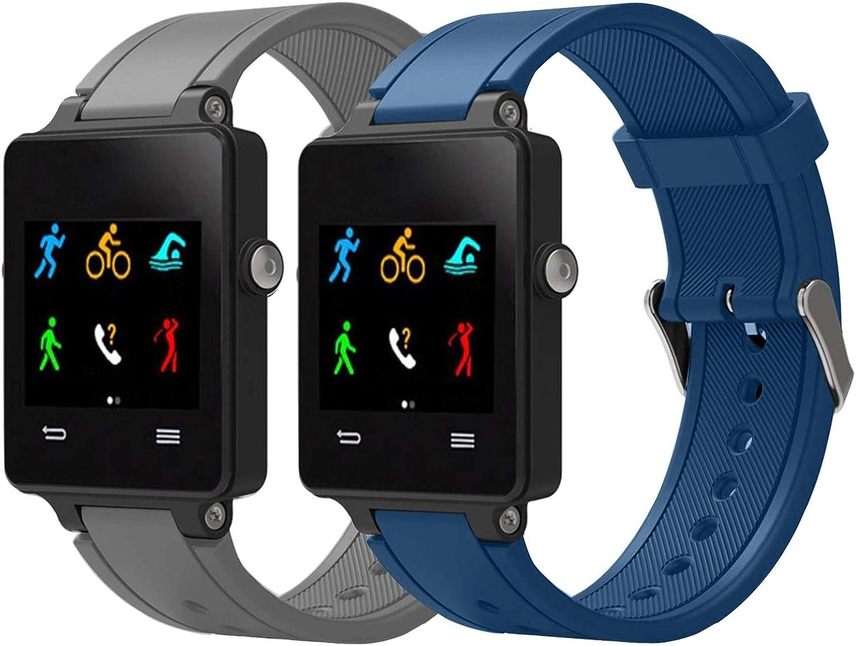Vozehui Pulsera compatible con Garmin Vivoactive Acetato, correa ajustable de silicona suave con cierres de metal para Garmin Vivoactive/Vivoactive Acetate Sports GPS Smart Watch