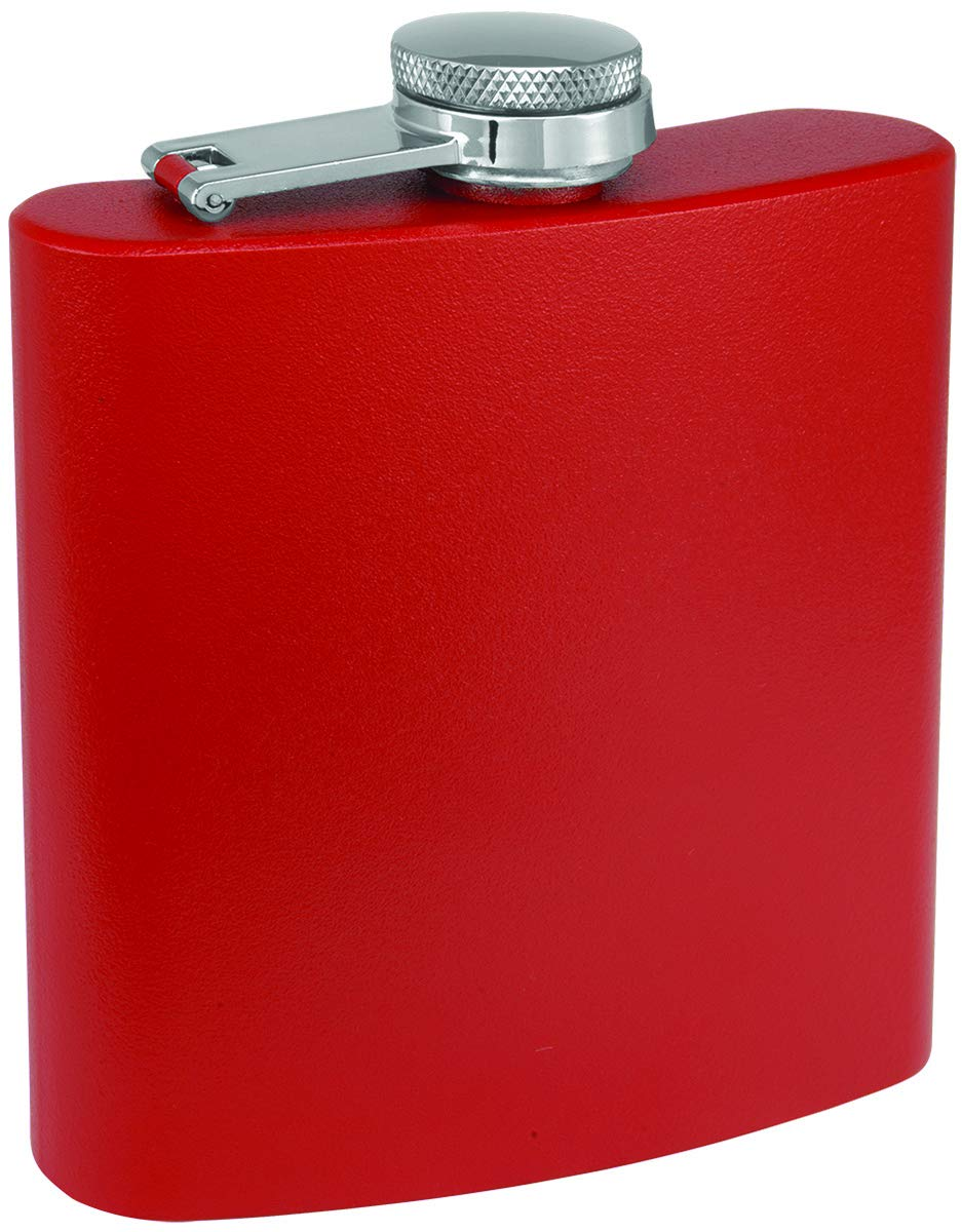 Groomsman Clear Water Home Goods Wedding Party 6 oz Powder Coated Stainless Steel Hip Flask Matte Red, 1 Bridesmaid