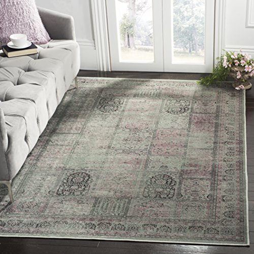 Safavieh Vintage Premium Collection VTG127-2111 Transitional Oriental Amethyst and Grey Panels Distressed Silky Viscose Area Rug (5'3