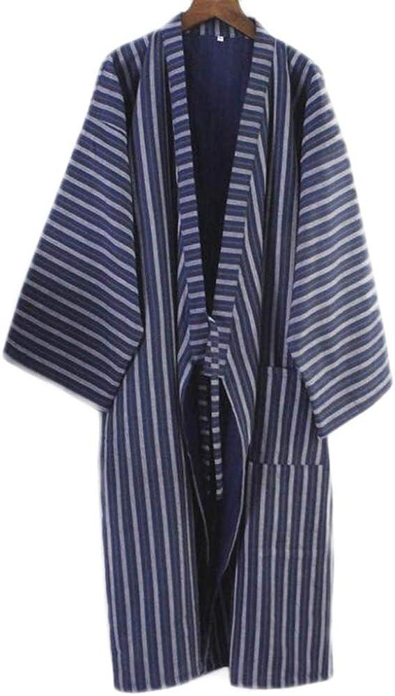 Los Hombres de Estilo japonés de algodón Fino Albornoz Pijamas Kimono Batas de baño Ropa de dormir-F11: Amazon.es: Ropa y accesorios