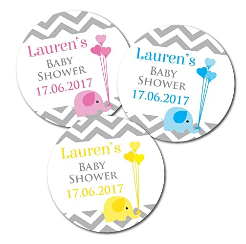 Personalised baby shower stickers baby elephant and chevron design stickers are 60mm diameter