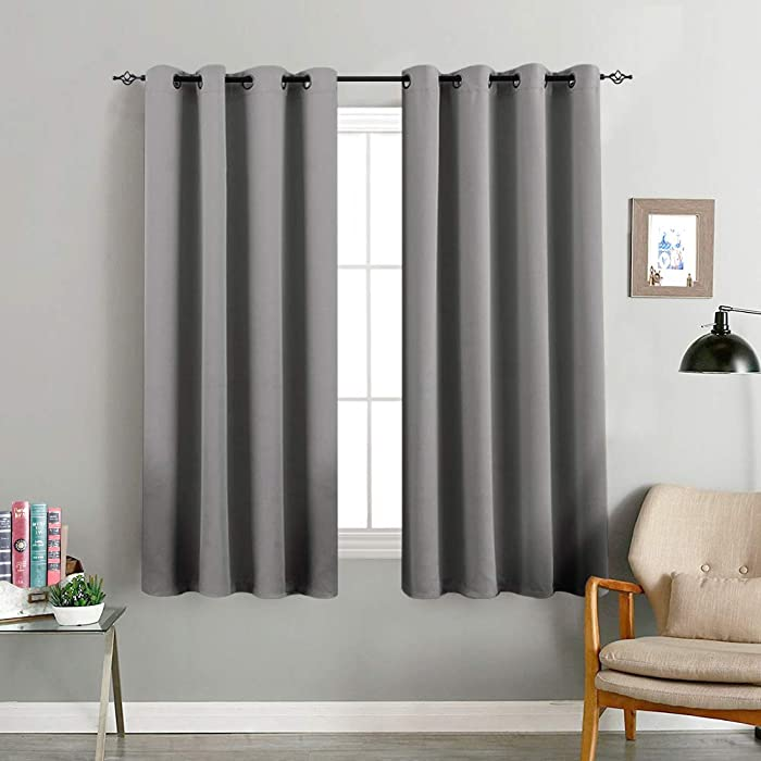 Gray Window Curtains for Living Room Bedroom Blackout Thermal Insulated Room Darkening Light Blocking Triple Weave Drapery Grommet Top 1 Pair 63 inch Grey
