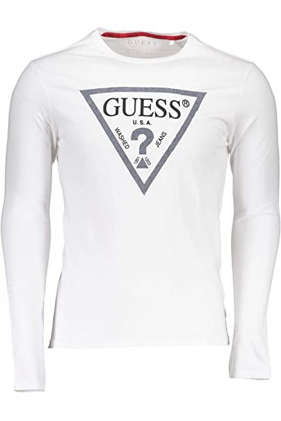 Guess Cn LS Denim Triangle, Camiseta de Manga Larga para Hombre: Amazon.es: Ropa y accesorios