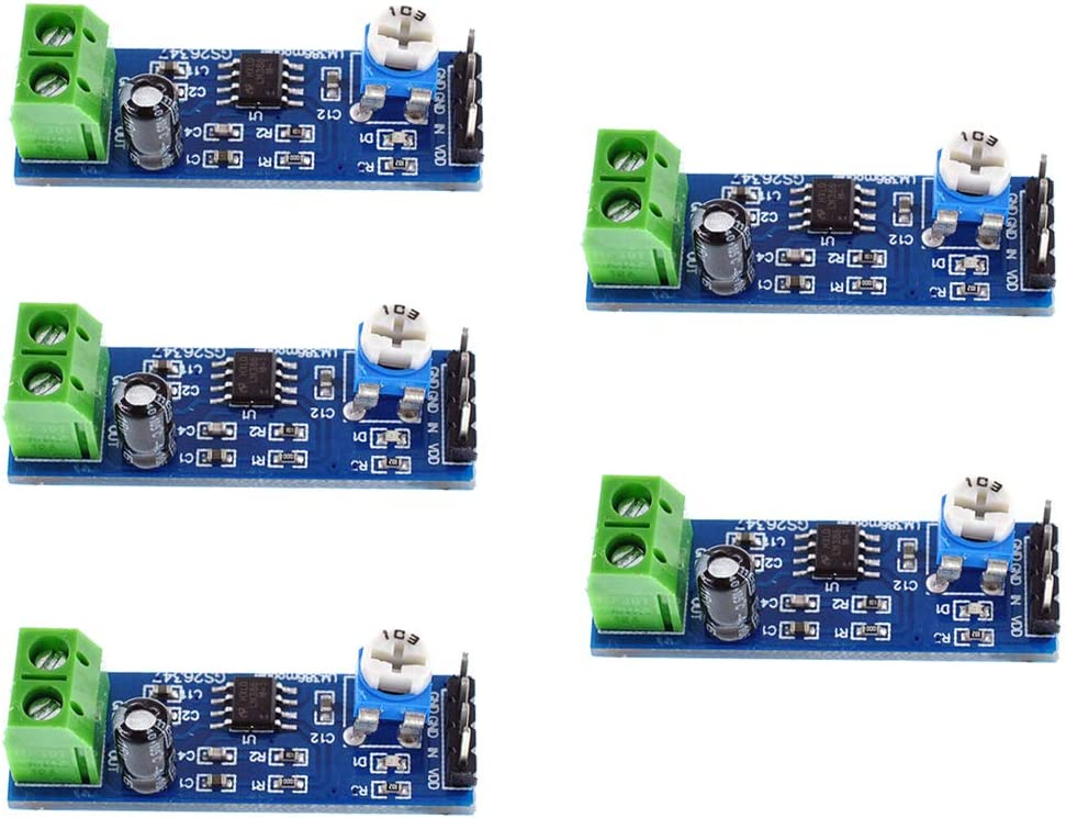 Oiyagai 5PCS 200 Times Gain 5V-12V LM386 Audio Amplifier Module for Arduino EK1236