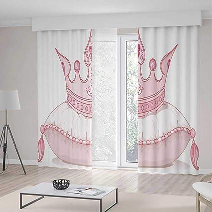 Amazon Com Queen Blackout Curtain Cartoon Style Cute Pink Princess