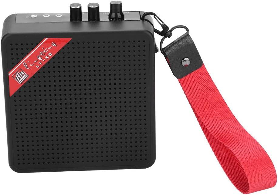 Jadpes Amplificador de Guitarra Altavoz, Mini 5W 9V Amplificador de Guitarra eléctrica Altavoz portátil Control de Tono de Volumen - Evangelio para Amantes del Rendimiento al Aire Libre