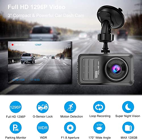 ROSON Dash Cam 1296P FHD DVR Car Driving Recorder 3 Inch IPS Screen 170 Wide Angle, Night Vision, WDR, G-Sensor, Loop Recording, Motion Detection, Parking Monitor