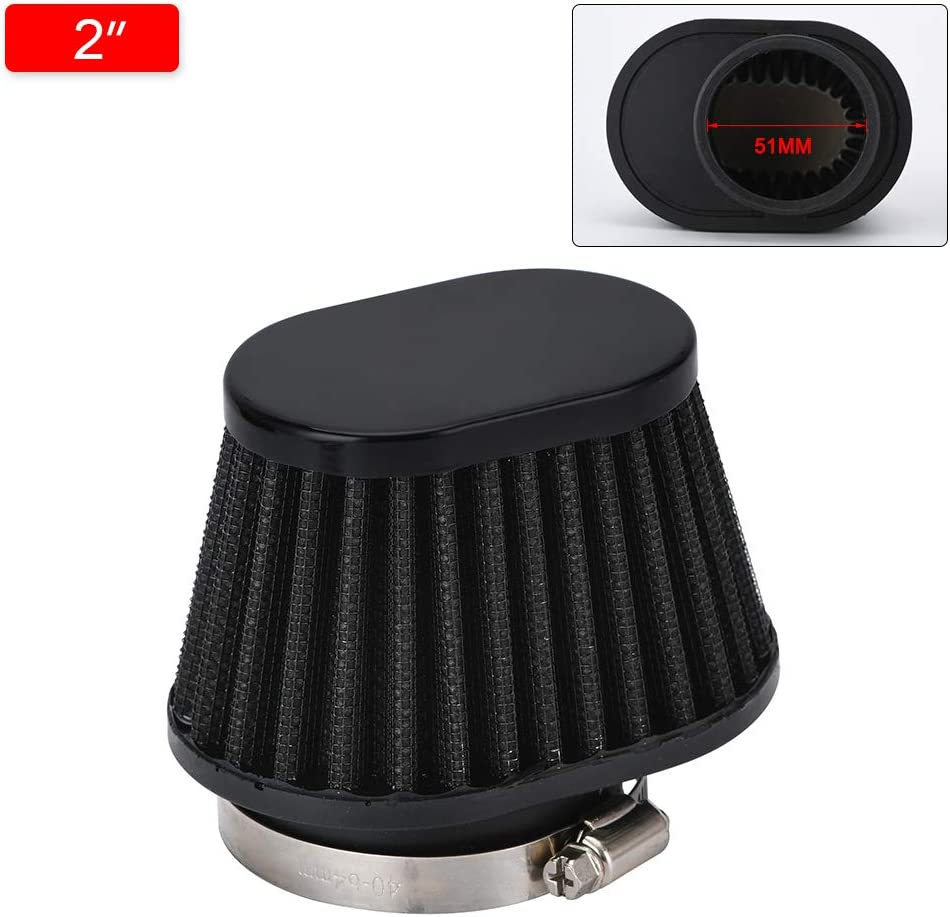 PQY Universal Clamp-On Motorcycle Air Filter Washable and Reusable Oval Air Filter For Kawasaki Yamaha Suzuki Honda 2